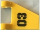 Part No: 44676pb043  Name: Flag 2 x 2 Trapezoid with Black '03' Pattern (Sticker) - Set 70631