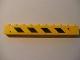 Part No: 6111pb008L  Name: Brick 1 x 10 with Black and Yellow Danger Stripes Pattern Left (Sticker) - Set 7633