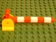 Part No: 6405c01  Name: Duplo, Train Crossing Gate Base with Red Duplo, Train Crossing Gate Crossbar with Large Handle with White Stripes Pattern
