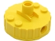 Part No: 65209c01  Name: Magnet Brick, Round 4 x 4 x 2 with 3 Pin Holes