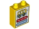 Part No: 76371pb003  Name: Duplo, Brick 1 x 2 x 2 with Bottom Tube with Bus Schedule Pattern