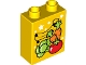Part No: 76371pb078  Name: Duplo, Brick 1 x 2 x 2 with Bottom Tube with Fruits and Vegetables (Bananas, Carrots, Tomato and Broccoli) Pattern