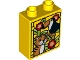Part No: 76371pb166  Name: Duplo, Brick 1 x 2 x 2 with Bottom Tube with Tiger and Toucan Pattern