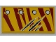 Part No: 87079pb0089L  Name: Tile 2 x 4 with 4 Rivets in 1 Line and Claw Scratch Marks on Dark Red Tiger Stripes Pattern Model Left Side (Sticker) - Set 5884