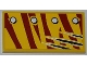 Part No: 87079pb0089R  Name: Tile 2 x 4 with 4 Rivets in 1 Line and Claw Scratch Marks on Dark Red Tiger Stripes Pattern Model Right Side (Sticker) - Set 5884