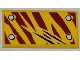 Part No: 87079pb0090L  Name: Tile 2 x 4 with 4 Rivets and 2 Claw Scratch Marks on Dark Red Tiger Stripes Pattern Model Bottom Left Side (Sticker) - Set 5886