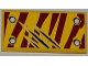 Part No: 87079pb0090R  Name: Tile 2 x 4 with 4 Rivets and 3 Claw Scratch Marks on Dark Red Tiger Stripes Pattern Model Bottom Right Side (Sticker) - Set 5886