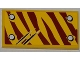 Part No: 87079pb0091L  Name: Tile 2 x 4 with 4 Rivets and 2 Claw Scratch Marks on Dark Red Tiger Stripes Pattern Model Top Left Side (Sticker) - Set 5886