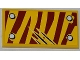 Part No: 87079pb0091R  Name: Tile 2 x 4 with 4 Rivets and 3 Claw Scratch Marks on Dark Red Tiger Stripes Pattern Model Top Right Side (Sticker) - Set 5886