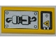 Part No: 87079pb0092L  Name: Tile 2 x 4 with Fire Danger Sign, Hatch and Mechanical Pattern (Sticker) - Set 5886