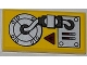 Part No: 87079pb0092R  Name: Tile 2 x 4 with Fire Danger Sign and Mechanical Pattern (Sticker) - Set 5886