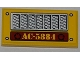 Part No: 87079pb0093  Name: Tile 2 x 4 with Car Grille, 4 Rivets and 'AC-5884' Pattern (Sticker) - Set 5884