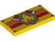 Part No: 87079pb0183  Name: Tile 2 x 4 with Fire Logo with Axes over Orange and Red Stripes Pattern