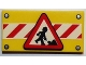 Part No: 87079pb0222  Name: Tile 2 x 4 with Road Sign Construction Worker on Red and White Danger Stripes Pattern