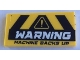 Part No: 87079pb0851  Name: Tile 2 x 4 with Black and Yellow Danger Stripes and 'WARNING MACHINE BACKS UP' Pattern (Sticker) - Set 60188