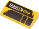 Part No: 88930pb130  Name: Slope, Curved 2 x 4 x 2/3 with Bottom Tubes with White 'TRANSIT' and Yellow Train Logo on Black Train Silhouette Pattern (Sticker) - Set 60271