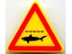 Part No: 892pb010  Name: Road Sign 2 x 2 Triangle with Clip with Shark Infested Waters Pattern (Printed)