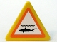 Part No: 892pb010s  Name: Road Sign 2 x 2 Triangle with Clip with Shark Infested Waters Pattern (Sticker) - Set 7739