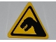 Part No: 892pb021  Name: Road Sign 2 x 2 Triangle with Clip with Black T. rex Pattern (Sticker) - Set 5887