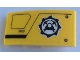 Part No: 93606pb124L  Name: Slope, Curved 4 x 2 with Mining Logo and Black Lines Pattern Model Left Side (Sticker) - Set 60188