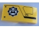 Part No: 93606pb124R  Name: Slope, Curved 4 x 2 with Mining Logo and Black Lines Pattern Model Right Side (Sticker) - Set 60188