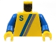 Part No: 973p23c01  Name: Torso Town 'S' Logo Light Gray / Blue Pattern / Blue Arms / Yellow Hands