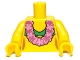 Part No: 973pb0787c01  Name: Torso Green Bikini Top and Pink Lei Pattern / Yellow Arms / Yellow Hands