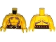Part No: 973pb1901c01  Name: Torso Ninjago Bare Chest Muscles, Dark Purple Snake Tattoos, Belt with Tan Snake Buckle Pattern / Yellow Arms / Yellow Hands