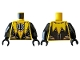 Part No: 973pb3350c01  Name: Torso with Yellow Lantern Logo on Black Circle, Muscle Contours, Black Scalloped Side Panels, 6 Silver Stripes Pattern / Black Arms / Black Hands