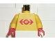 Part No: 973px128c01  Name: Torso Train Logo Large Red Pattern / Yellow Arms / Red Hands