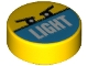 Part No: 98138pb178  Name: Tile, Round 1 x 1 with 'LIGHT' on Medium Azure Half and Angry Eyes Pattern