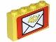 Part No: BA008pb06  Name: Stickered Assembly 4 x 1 x 2 with Mail Envelope Pattern (Sticker) - Set 6689 - 2 Brick 1 x 4
