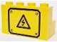 Part No: BA230pb01  Name: Stickered Assembly 4 x 2 x 2 with Black Electricity Danger Sign and Border Pattern (Sticker) - Set 7243 - 1 Brick 1 x 4, 1 Brick 2 x 4