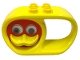 Part No: x1728cx1  Name: Duplo Rattle Teether Oval 2 x 6 x 3 with Handle and Turning Red Duck Face with Yellow Beak and Rattling Eyes