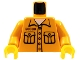 Part No: 973pb0286c01  Name: Torso Jail-Breaker Shirt with 2 Pockets, '50380' Pattern / Medium Orange Arms / Yellow Hands