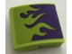 Part No: 15068pb254  Name: Slope, Curved 2 x 2 with Lime Flames on Dark Purple Background Pattern (Sticker) - Set 75823