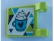 Part No: 2335pb224  Name: Flag 2 x 2 Square with Mug of Hot Chocolate with Heart and Dark Blue, Lime and Medium Azure Triangles Pattern (Sticker) - set 41319