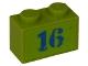 Part No: 3004pb098  Name: Brick 1 x 2 with Blue '16' Pattern (Sticker) - Set 8191