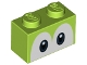 Part No: 3004pb206  Name: Brick 1 x 2 with Dark Blue and Black Eyes on White Background Pattern (Yoshi)