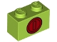 Part No: 3004pb213  Name: Brick 1 x 2 with Red Coin Pattern