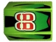 Part No: 30602pb010  Name: Slope, Curved 2 x 2 Lip with '88', Green Fade/Black Stripes Pattern