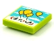 Part No: 3068bpb1572  Name: Tile 2 x 2 with Groove with BeatBit Album Cover - Four Floating Yellow Balloons in Sky Pattern