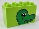 Part No: 31111pb047  Name: Duplo, Brick 2 x 4 x 2 with Alligator / Crocodile Head Pattern