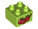 Part No: 3437pb061  Name: Duplo, Brick 2 x 2 with 3 Red Apples and Worm Pattern