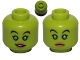 Part No: 3626cpb1138  Name: Minifigure, Head Dual Sided Alien Female with Bright Green Eyes, Nougat Lips, Smile / Frown Pattern (SW Hera Syndulla) - Hollow Stud