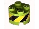 Part No: 3941pb05  Name: Brick, Round 2 x 2 with Axle Hole with Black and Yellow Danger Stripes Pattern (Sticker) - Set 8968