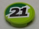 Part No: 4150pb155  Name: Tile, Round 2 x 2 with Black '21' on Green and Lime Background Pattern (Sticker) - Set 8896