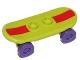 Part No: 42511c04pb14s  Name: Minifigure, Utensil Skateboard with Trolley Wheel Holders with Dark Red Stripe Pattern (Sticker) and Dark Purple Trolley Wheels (42511pb14s / 2496)