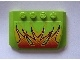 Part No: 52031pb011  Name: Wedge 4 x 6 x 2/3 Triple Curved with Flames on Lime Background Pattern (Sticker) - Set 8141