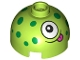 Part No: 553pb039  Name: Brick, Round 2 x 2 Dome Top with Green Dots, White Eye and Dark Pink Tongue Pattern